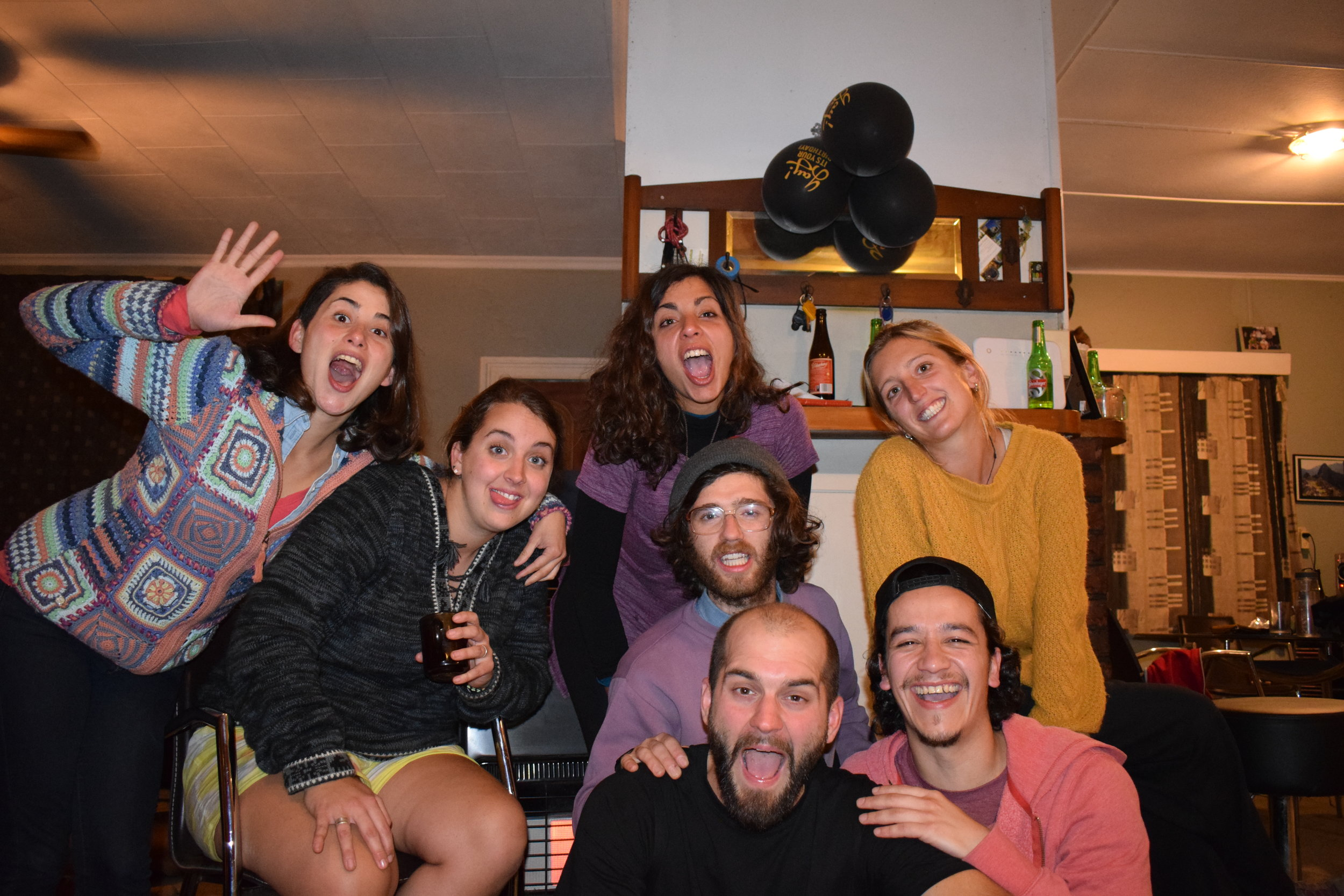 With some of our housemates in  Motueka : Maria Jose, Alex, Tash, Adam, and Cesar.