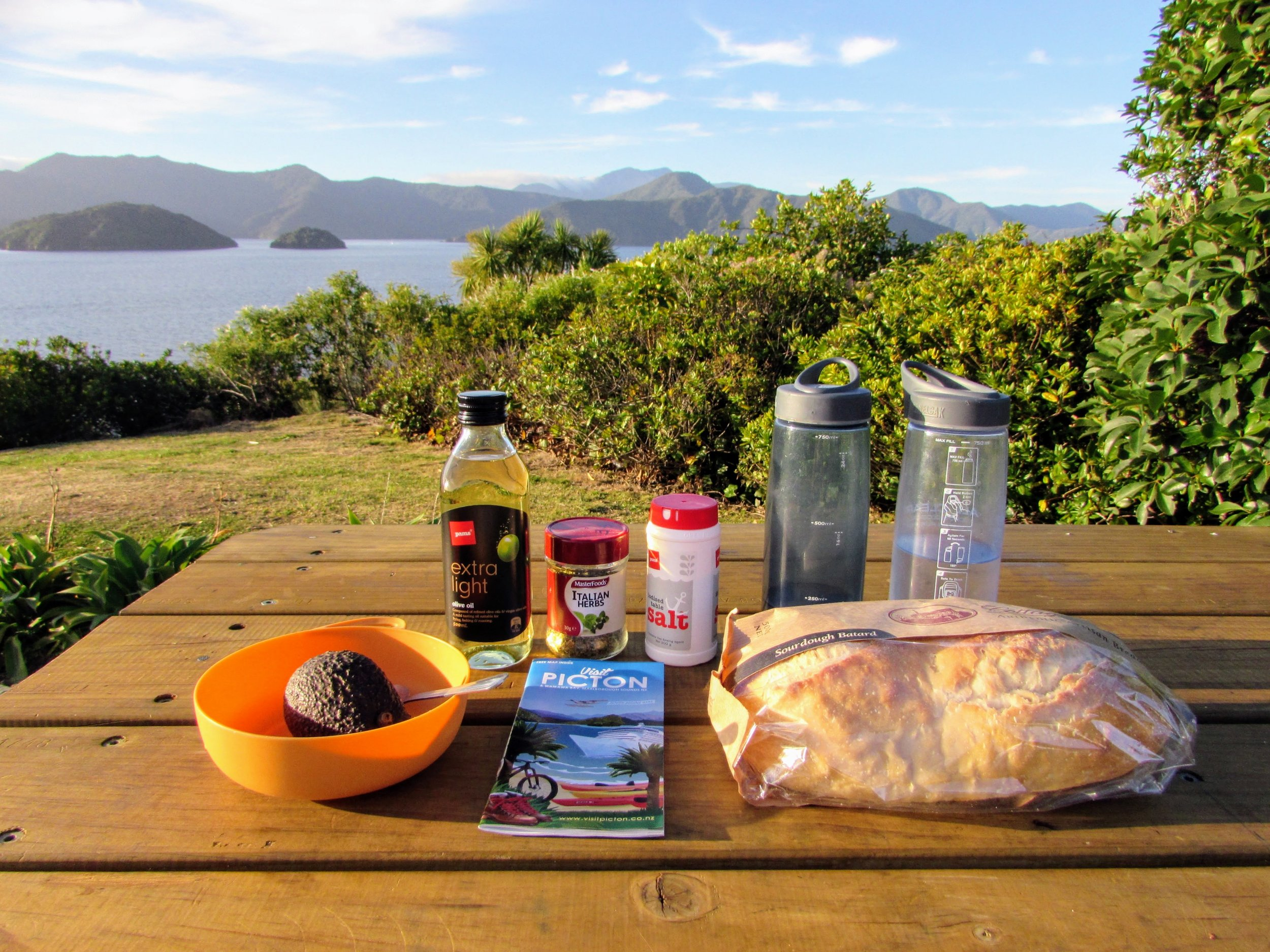 Car living dinner in Picton, NZ: bread + oil, & salted avocado. Not exactly healthy but definitely tasty.