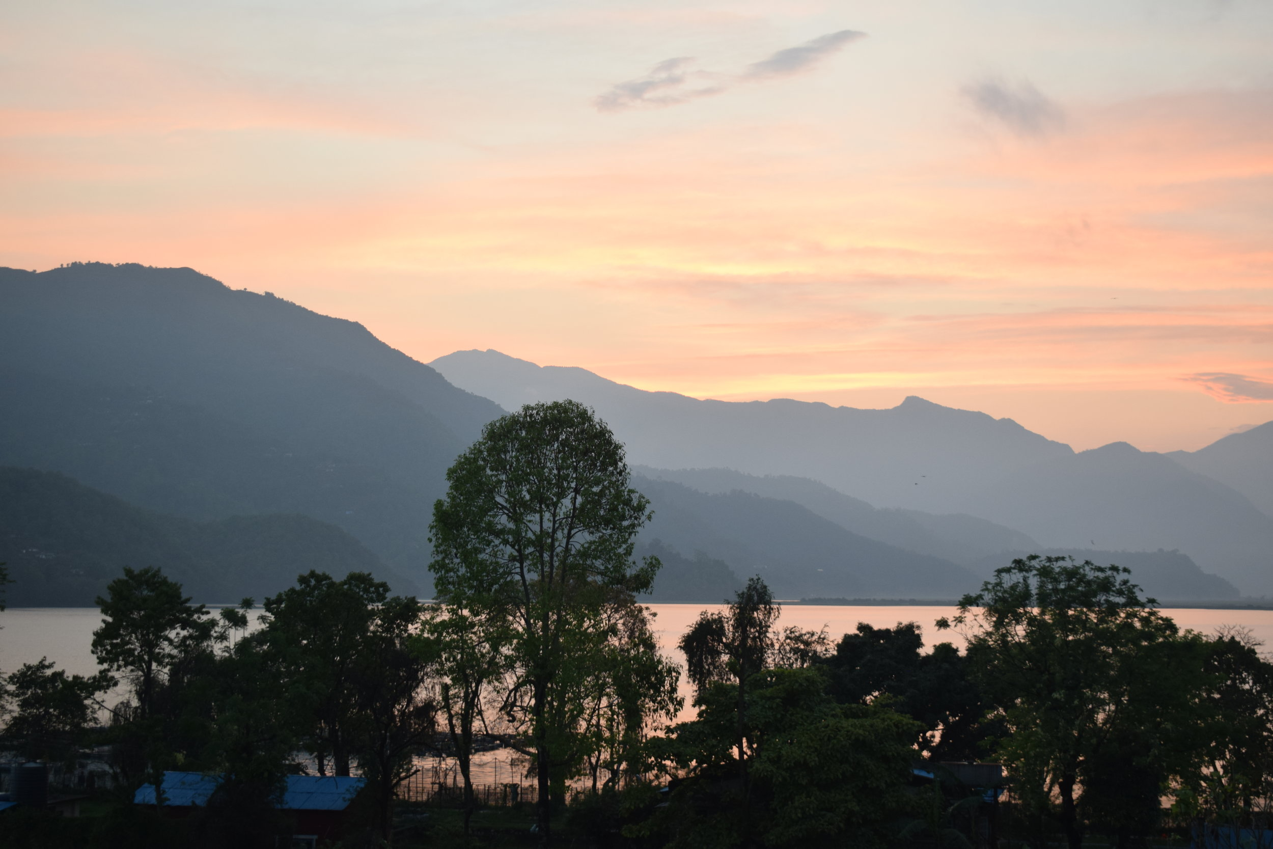 The view from OR2K over Phewa Lake at sunset.