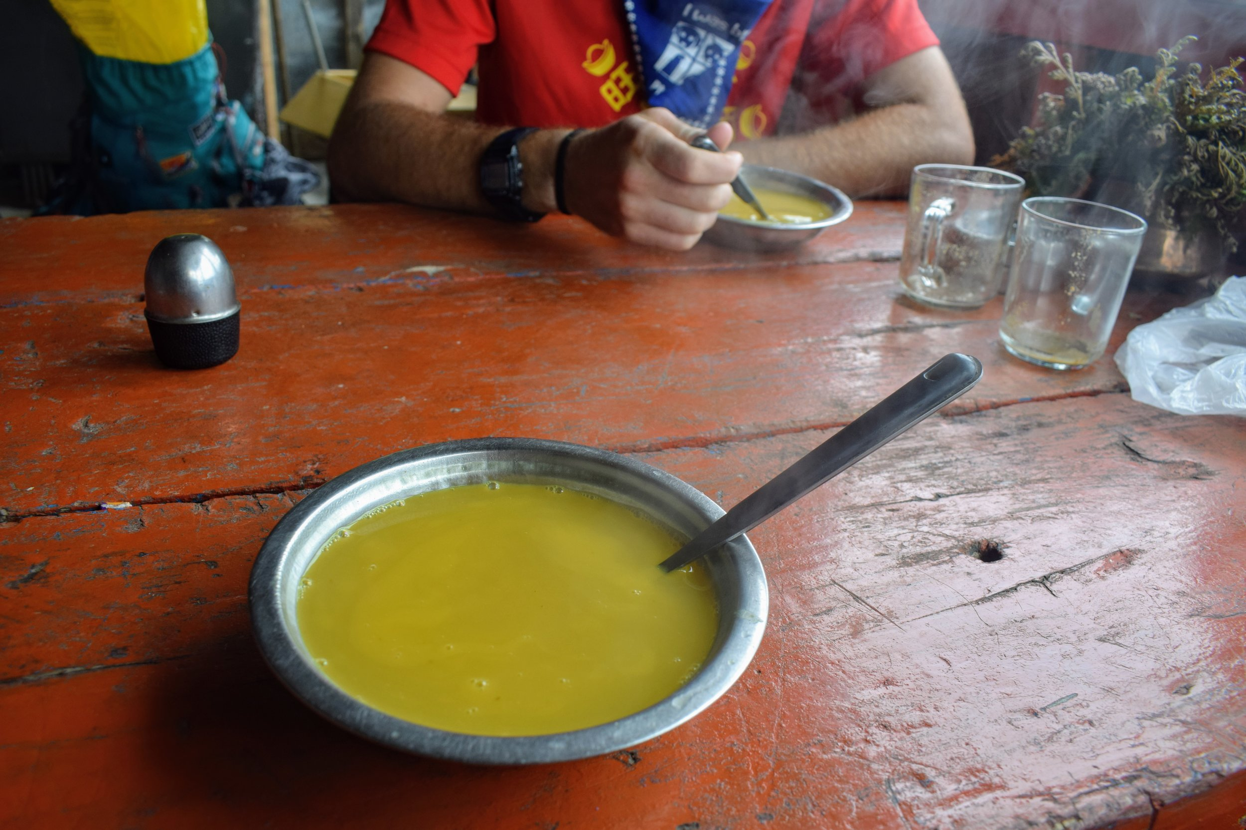 Dhal on a cold, rainy afternoon in April // Annapurna Conservation Area