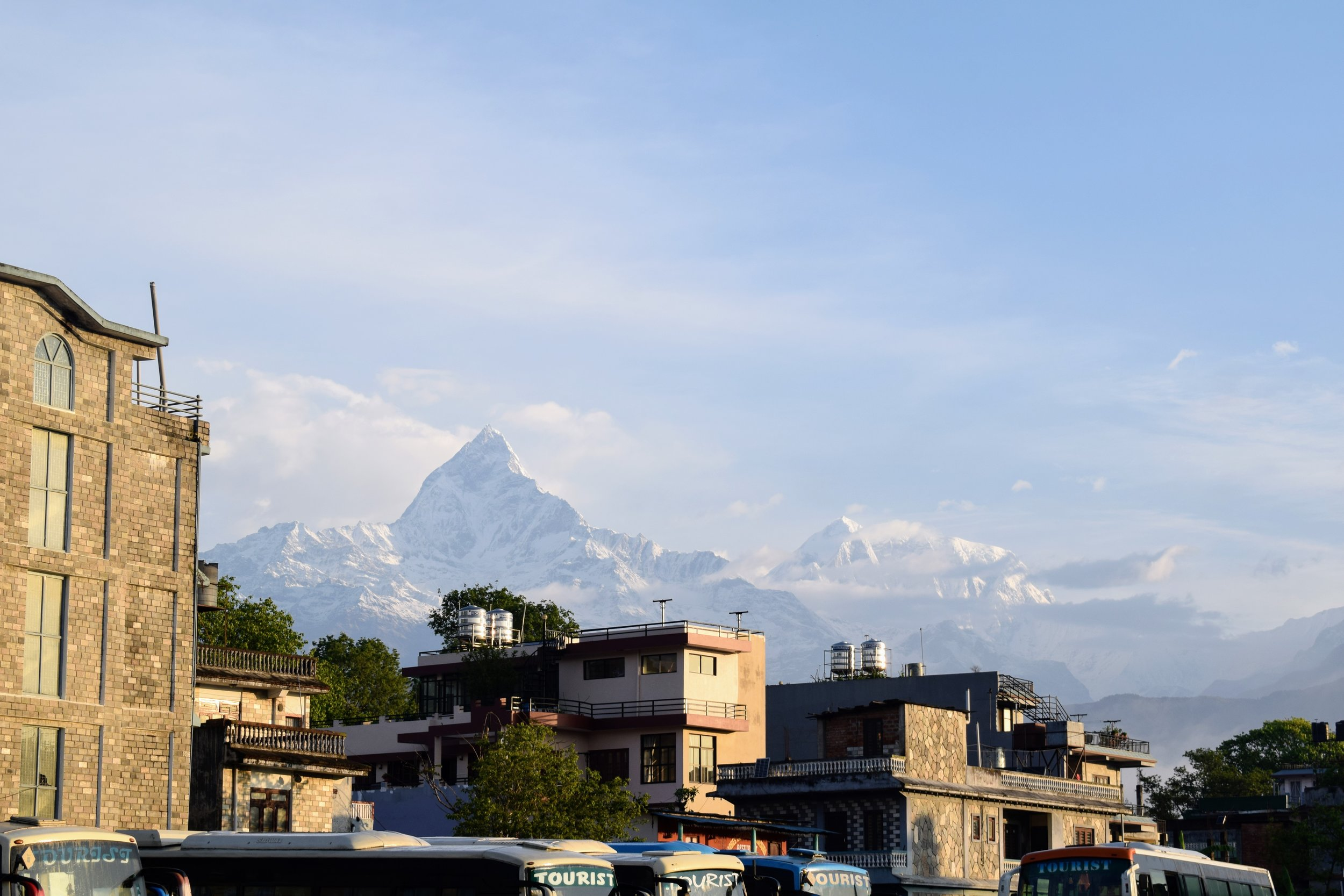 macchapucchre above the bus station in pokhara