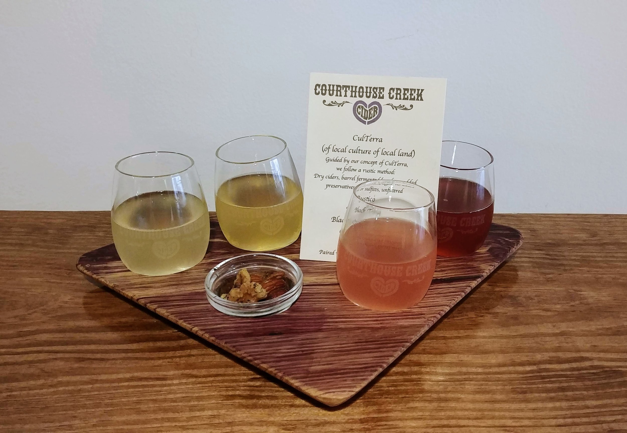 A flight of ciders at Courthouse Creek's tasting room.