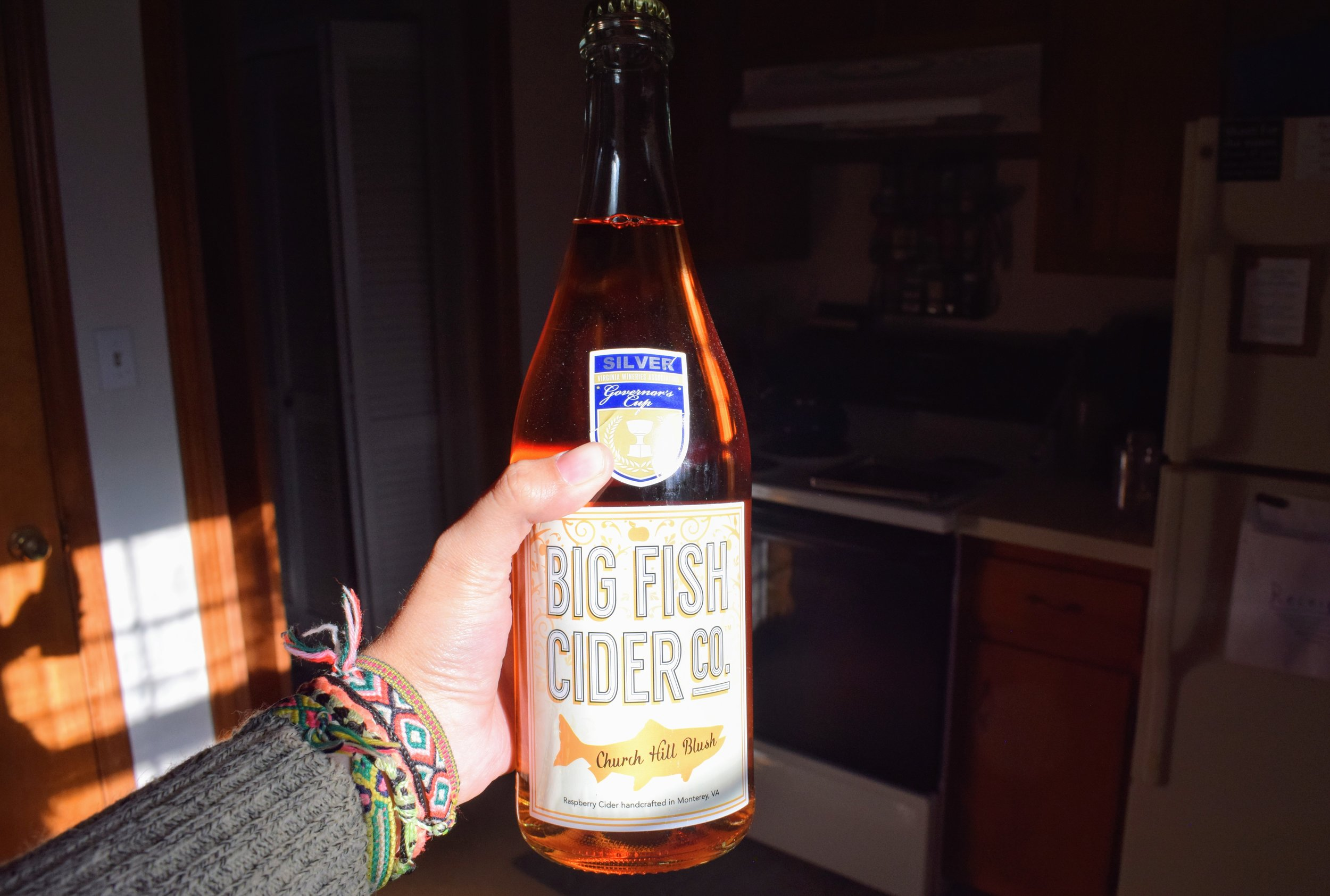 A bottle of the Church Hill Blush cider.