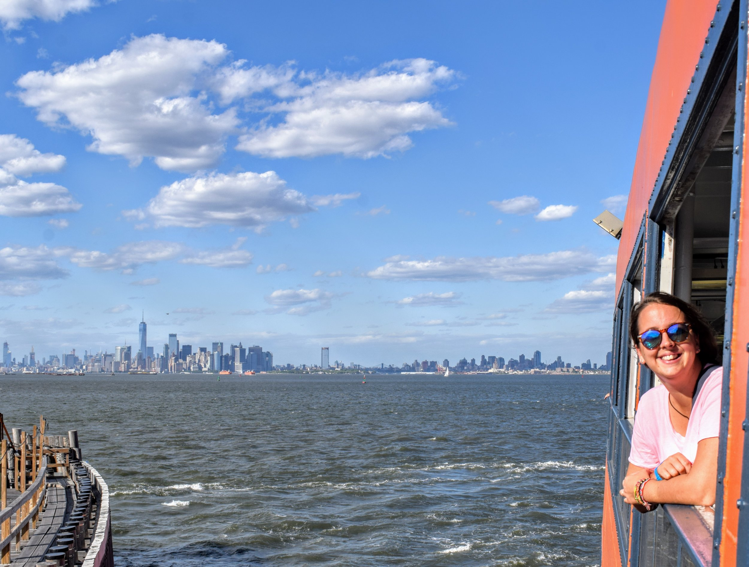 Yours truly loving the view of the city from the Staten Island Ferry.