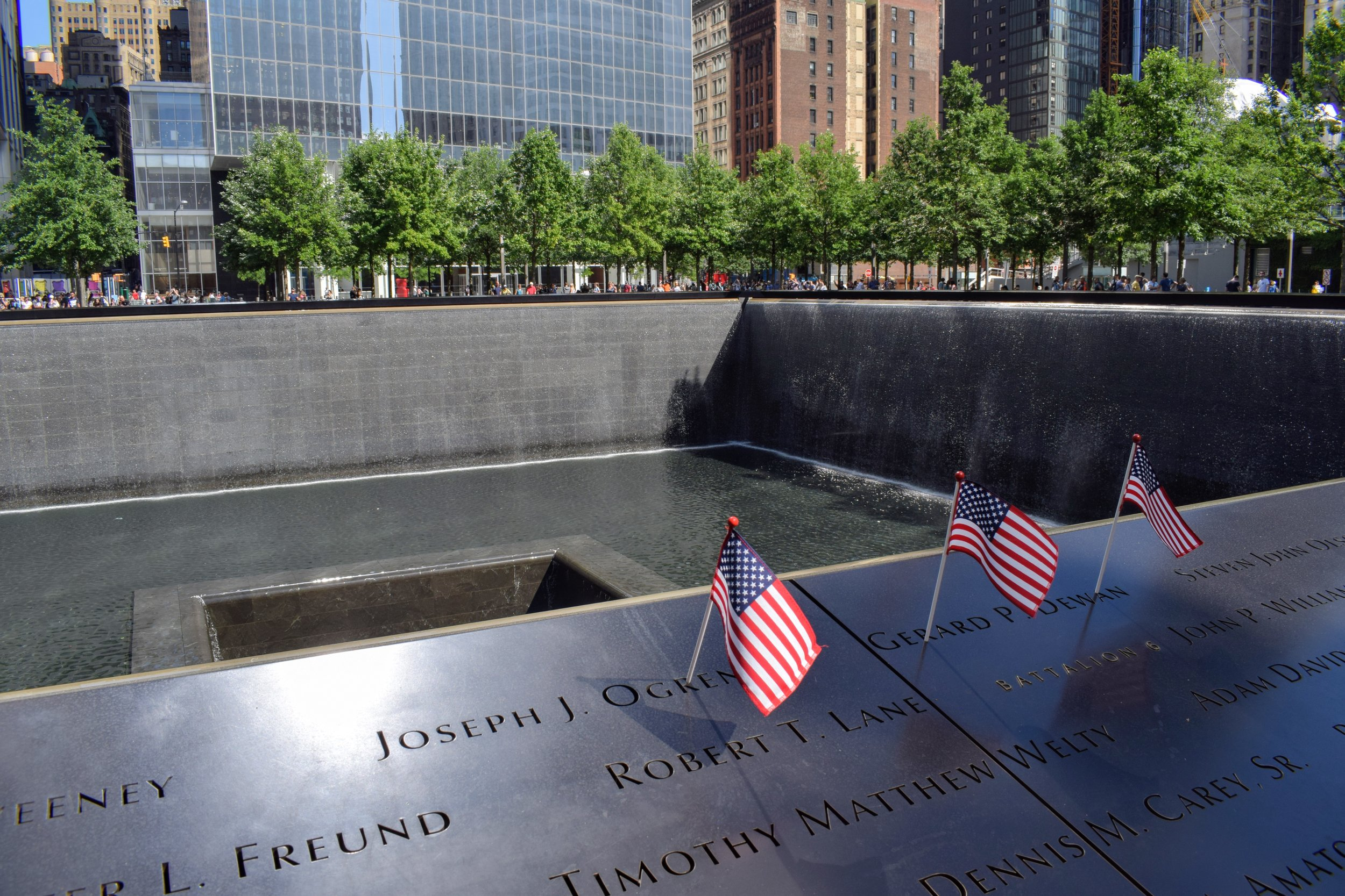 Names of lives lost during September 11th feature on the outer wall of one of the footprints representing the former Twin Towers in New York.