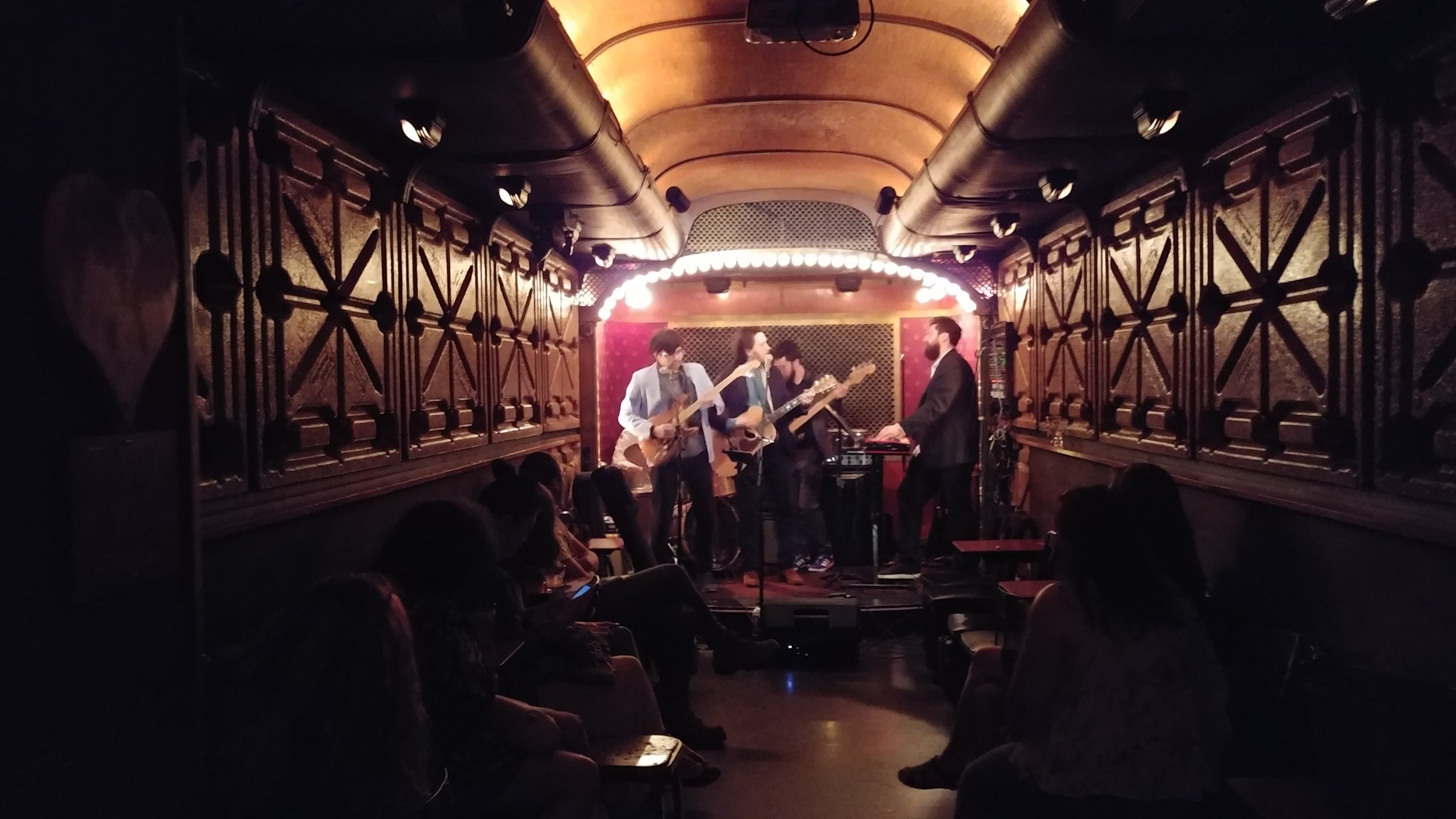 An Americana band plays at Pete's Candy Shop in Brooklyn.