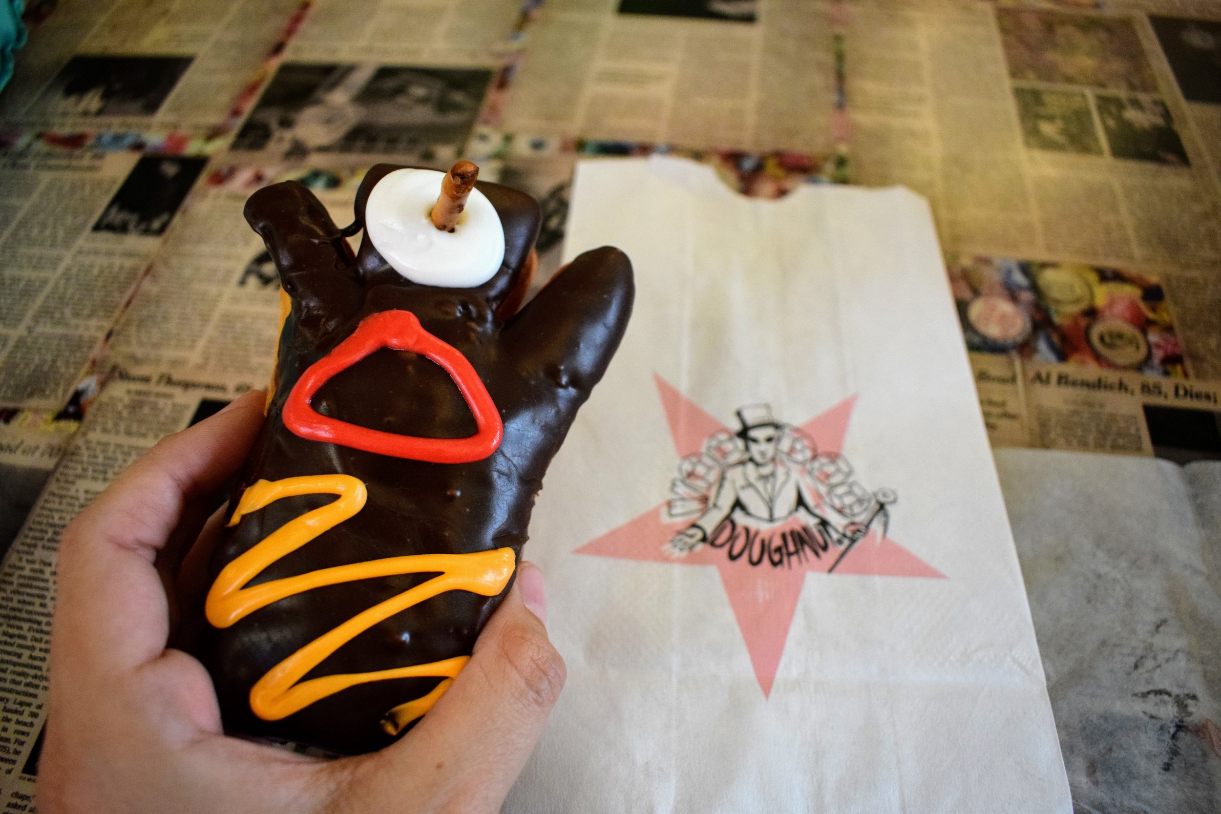 The classic namesake doughnut that I ate at Voodoo Doughnuts in Austin.