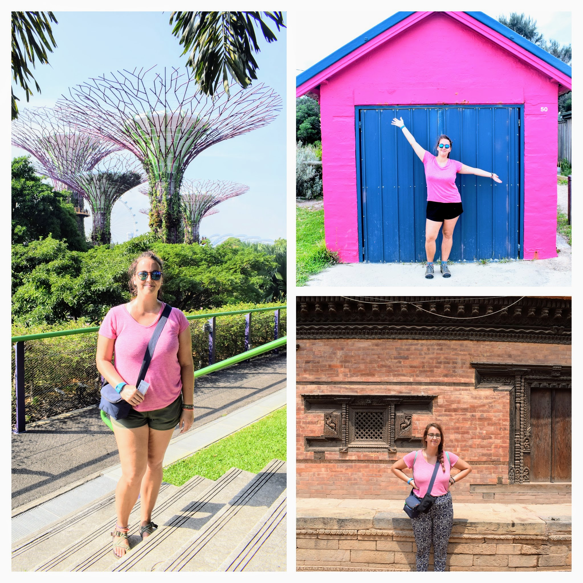 My pink v-neck making an appearance in Singapore, Australia, and Nepal.