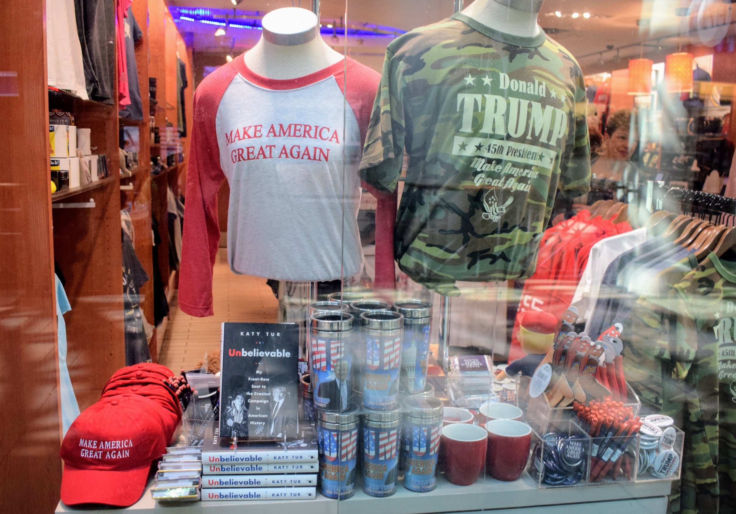 The Window display of a patriotic shop in Washington D.C.'s Union Station.