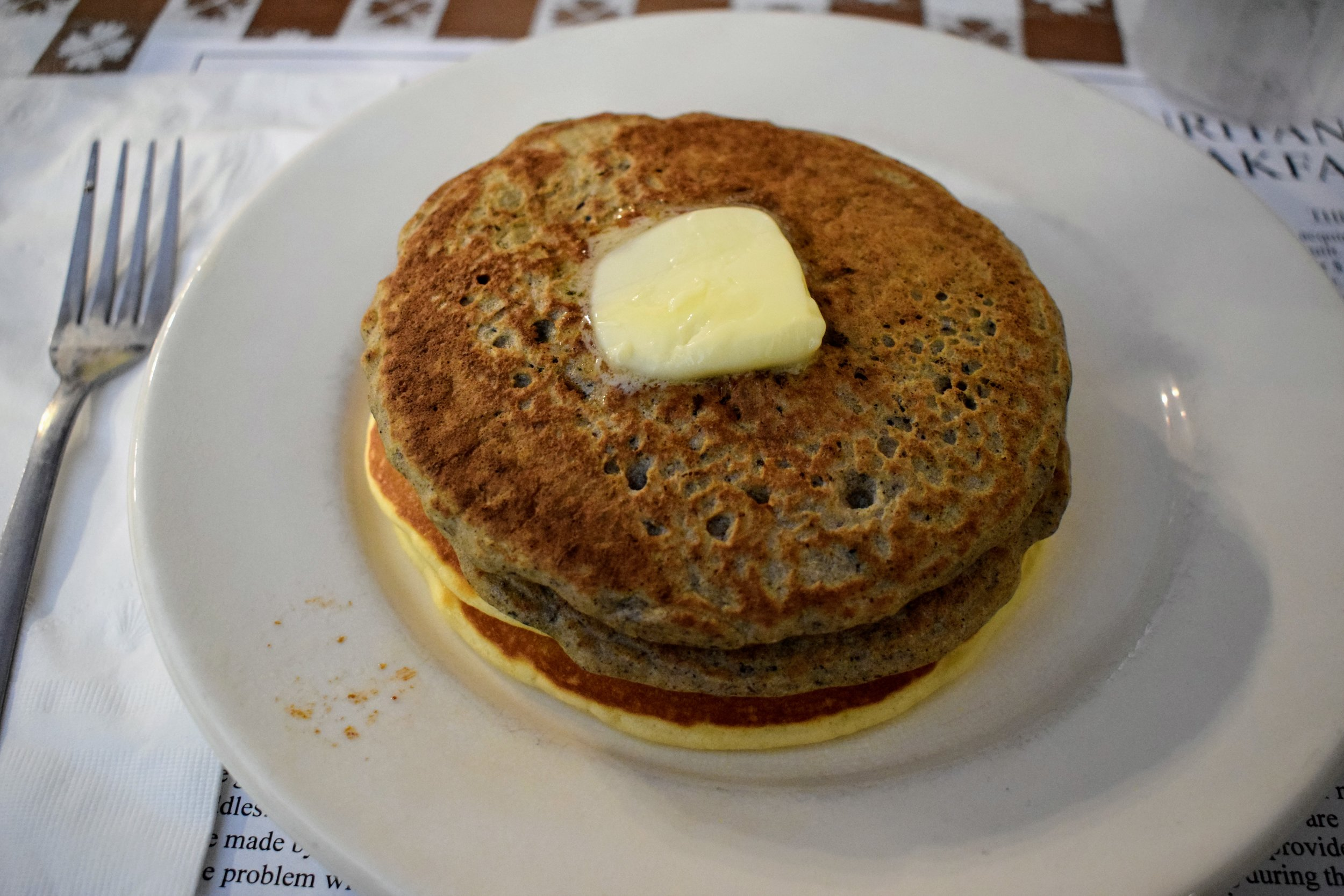 A stack of buckwheat and regular pancakes at the Bolar Ruritan Club.