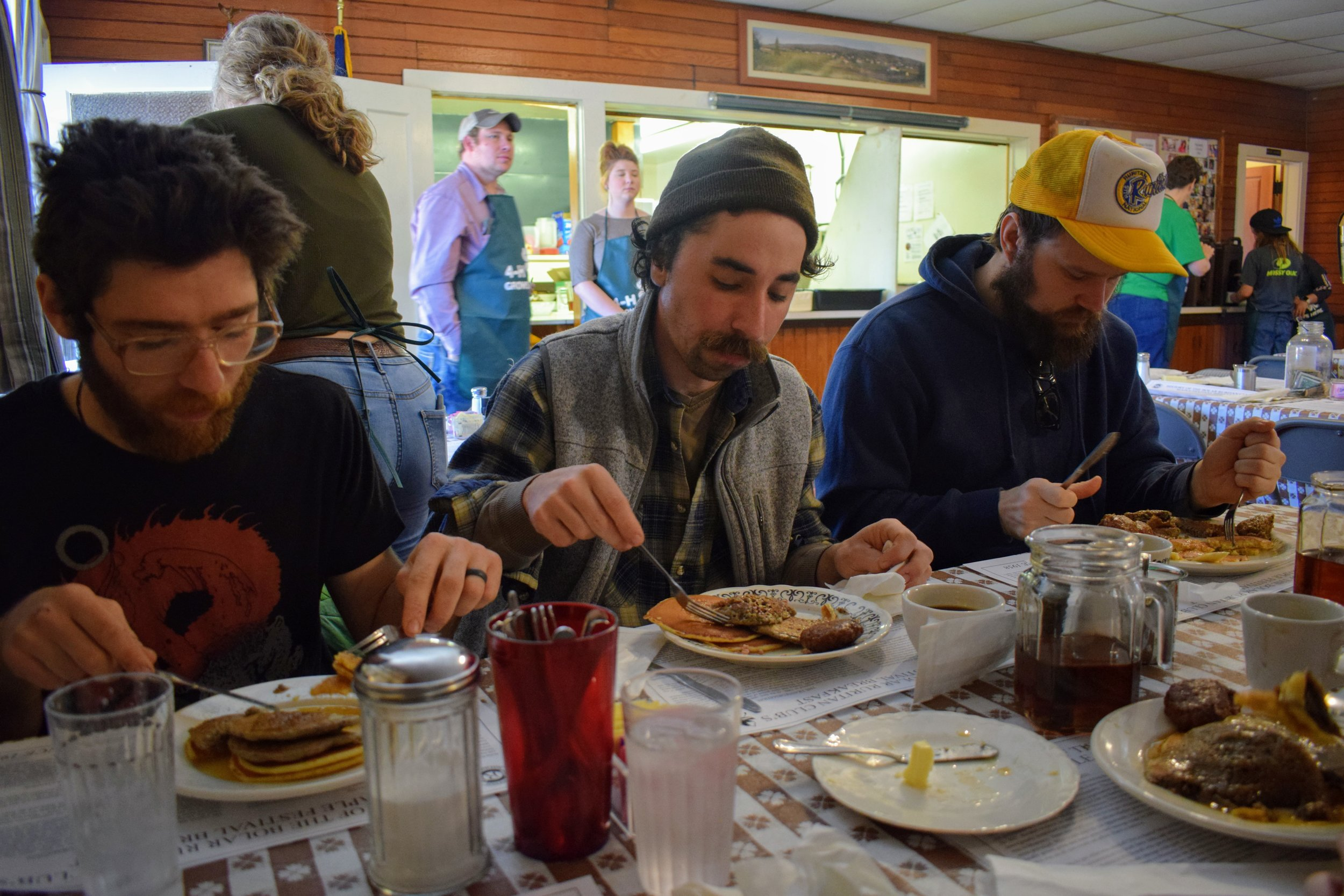 Emmett, Dylan, and Sam digging in at Bolar Ruritan.