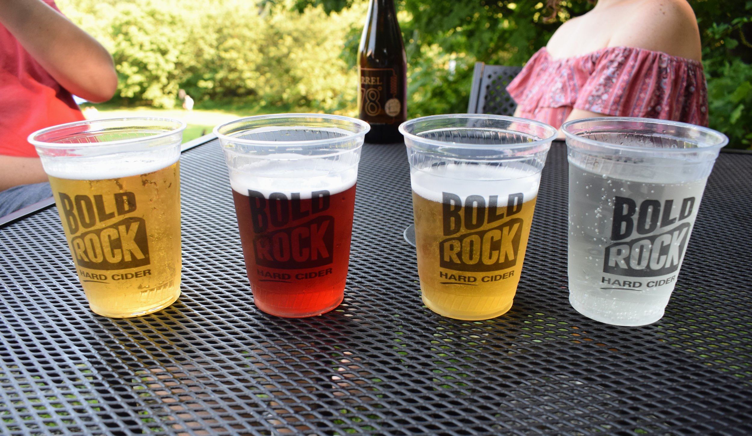 Three Bold Rock Ciders and a Seltzer.