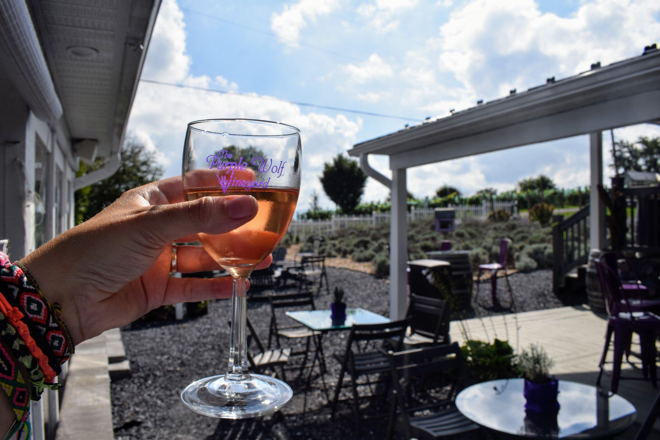 Lavender wine at Purple WOLF Vineyard