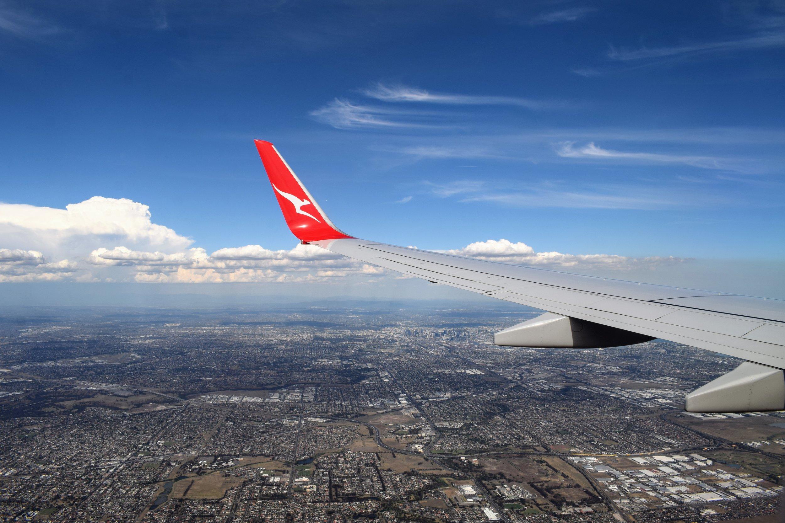 On a QANTAS flight to Melbourne, Australia.