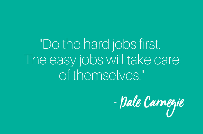 Do the hard jobs first the easy ones will take care of themsleves dale Carnegie.png