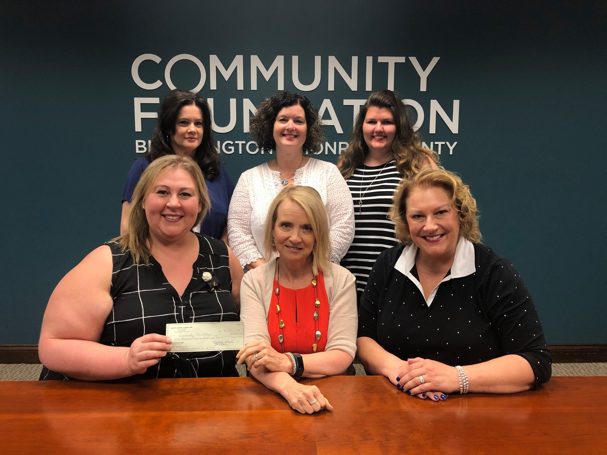 Tri Kappa leaders establishing a new endowment with the Community Foundation of Bloomington and Monroe County on Monday, July 1, 2019.  First row, left to right: Trish Surfus Smith, Tina Peterson (Community Foundation), Amanda Burnham. Second Row: Stephanie Williamson, Beth Theile, and Megan Parmenter.