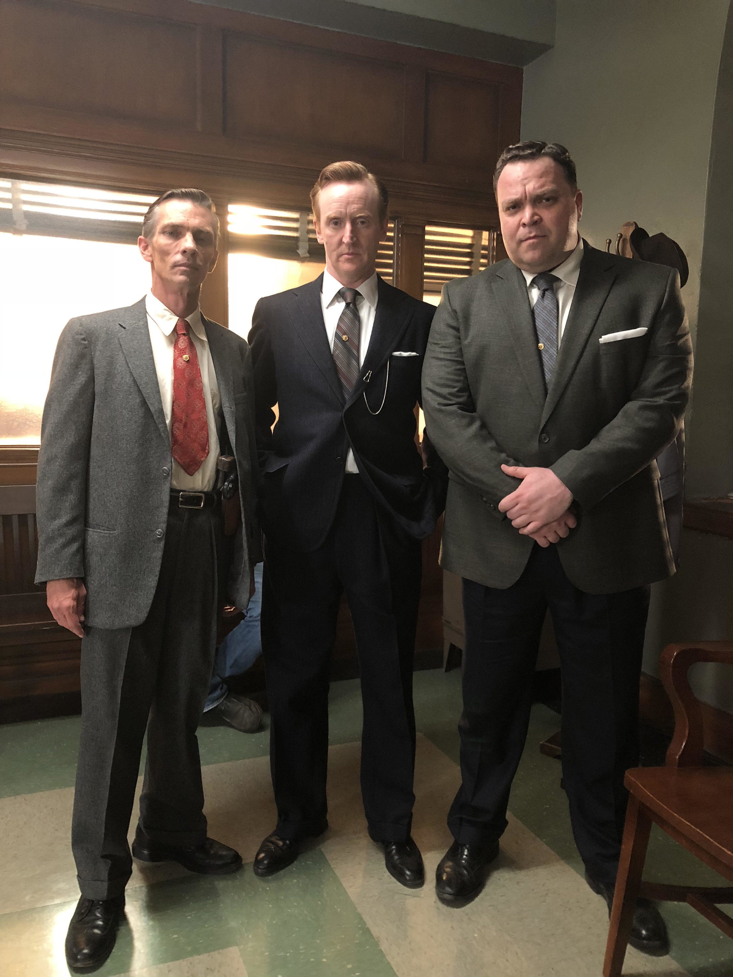 """Deadly Trio caption - """"These aren't good guys .They're not good cops"""" Charles Baker (Detective Breunig), Tony Curran (Dudley Smith) and Drew Powell (Detective Carlisle) -   Photo courtesy Drew Powell"""