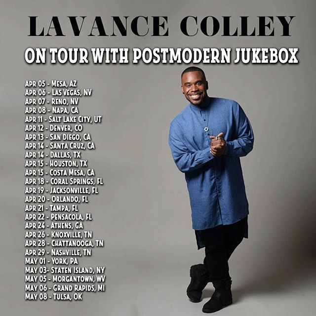 So I am happy to say that goof back out on a USA tour with @pmjofficial. It's gonna be a fun ride and if you are in any of these cities, please come out to the show. Promise you won't regret it! #lavancecolley #pmjtour #singer #tourlife #blessed