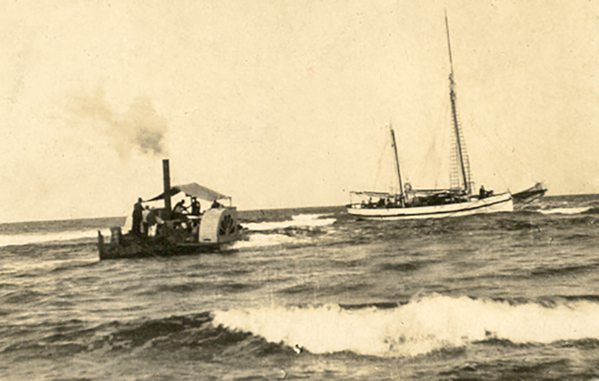 Paddle Steamer Curlip, crossing the Marlo Bar to transfer passengers and goods for the communities of Orbost and Marlo. Contrary to modern opinion Paddle Steamers were very seaworthy and designed to cope with bar crossings and limited coastal ocean work. Their shallow draft was their greatest asset with surface propulsion.