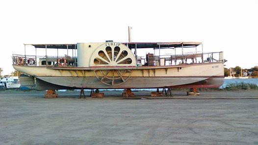 Paddle Steamer Curlip on her leased hard stand at Squatters Row, Slip Road, Paynesville.