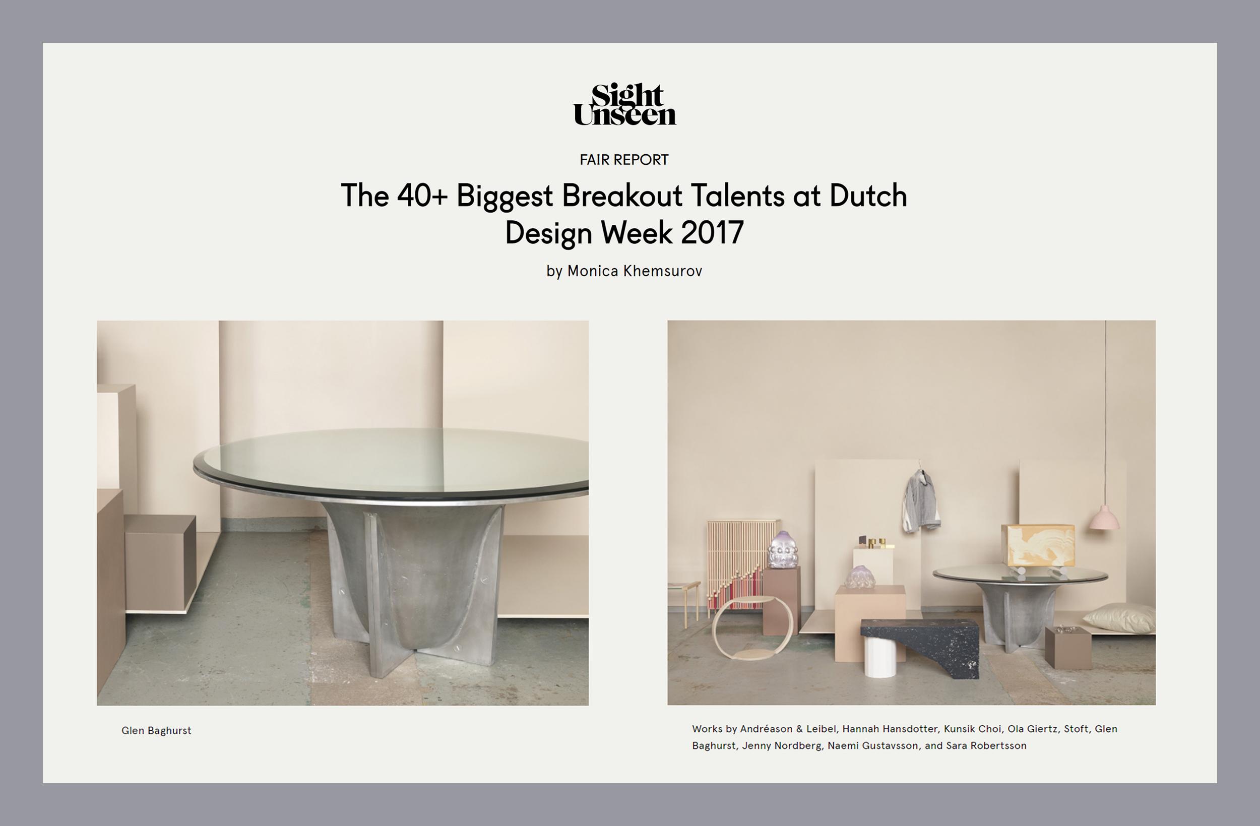 Sight Unseen Biggest Breakout Talents at Dutch Design Week 2017