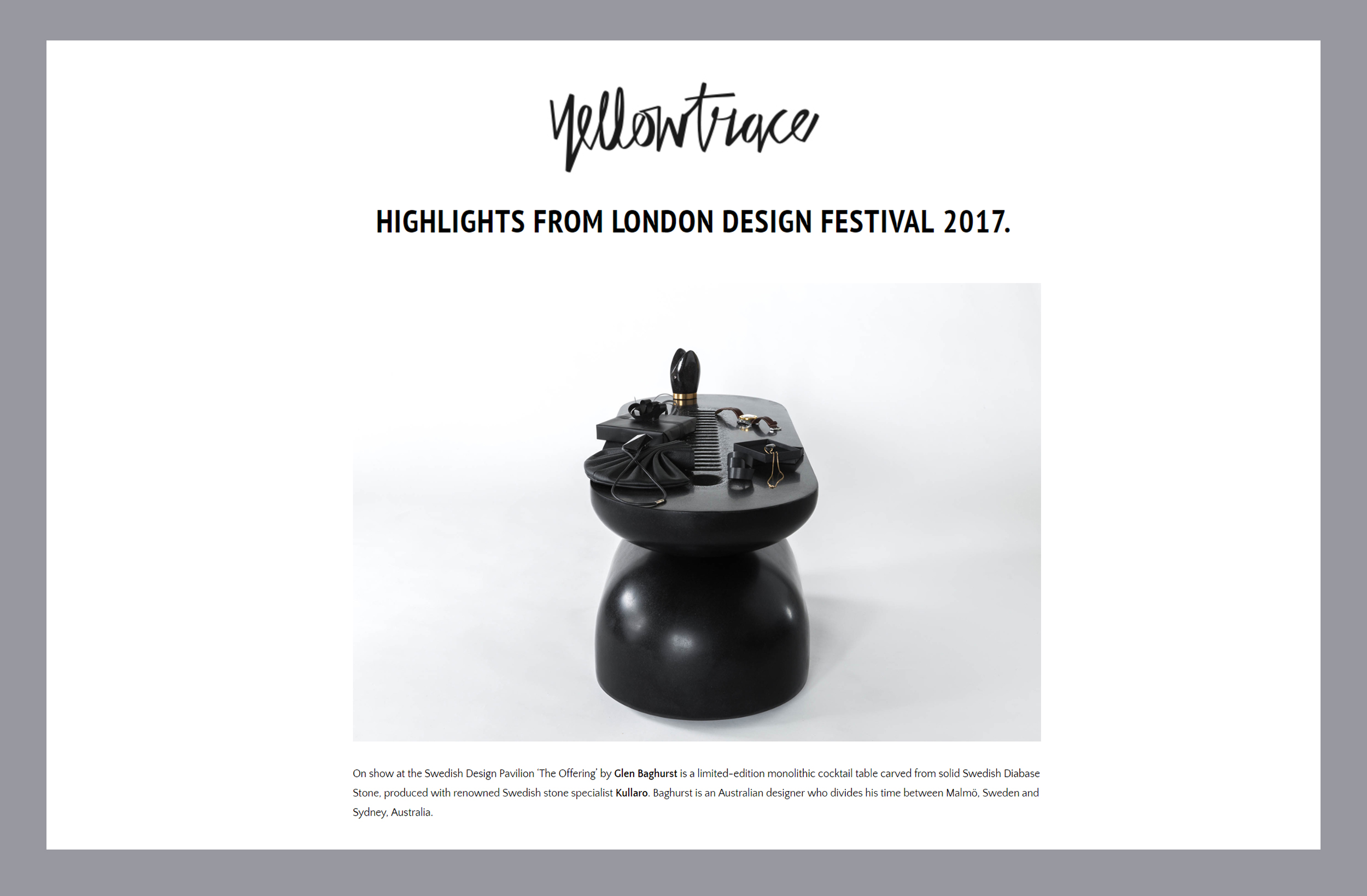 Yellowtrace London Design Festival HIghlights 2017