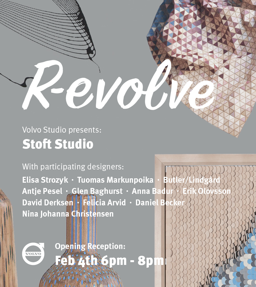 28/1/2019 'R-evolve', Volvo Studio, Stockholm, 2019  Designer Glen Baghurst work will be featured in R-evolve. An exhibition curated by Stoft Studio.