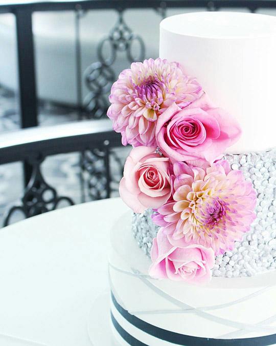bright pink dahlia rose wedding cake flowers auckland