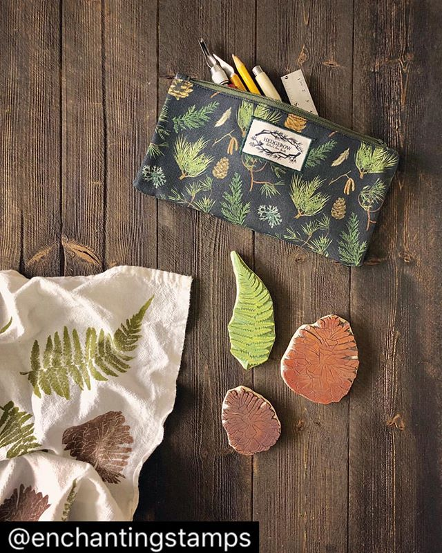 Thank you to Jessica @enchantingstamps for this lovely photo of the forest floor pencil case!! I'm sorry they are still out of stock in the shop atm but I have a heap of sewing I'm getting through and they will be back in stock soon!! Also how lovely are the fern and pine cone stamps 😍😍 Jessica hand carves them herself and you can find them and many other beautiful stamps over at @enchantingstamps 🌿🌲 #forestfloor #naturedesign #pinecone #woodland #ferns #naturelovers #pencilcase #naturepencilcase #woodlanddesign #forest #handmade #hedgerowdesigns #catherinefreresmith #forestpattern #pattern #stamps #handcarved