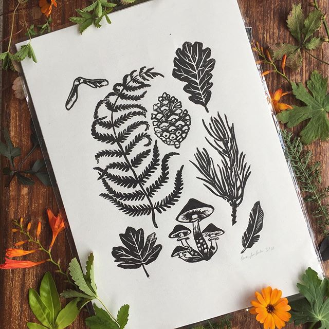 I loved making this Lino print. There's something so nice about carving something 3D rather than working on something flat the whole time. Have you tried anything new that you really enjoyed recently? Prints are available in the shop (link in bio) #woodland #woodlandfloor #forestfloor #lino #linocut #linoprint #printmakers #ferns #natureart #woodlandartwork #leavesart #botanicalart #leaves #mushrooms #natureprint #artprint #naturelovers #makersgonnamake #handmadeparade #heytheremaker #linoprinting #linocutprint