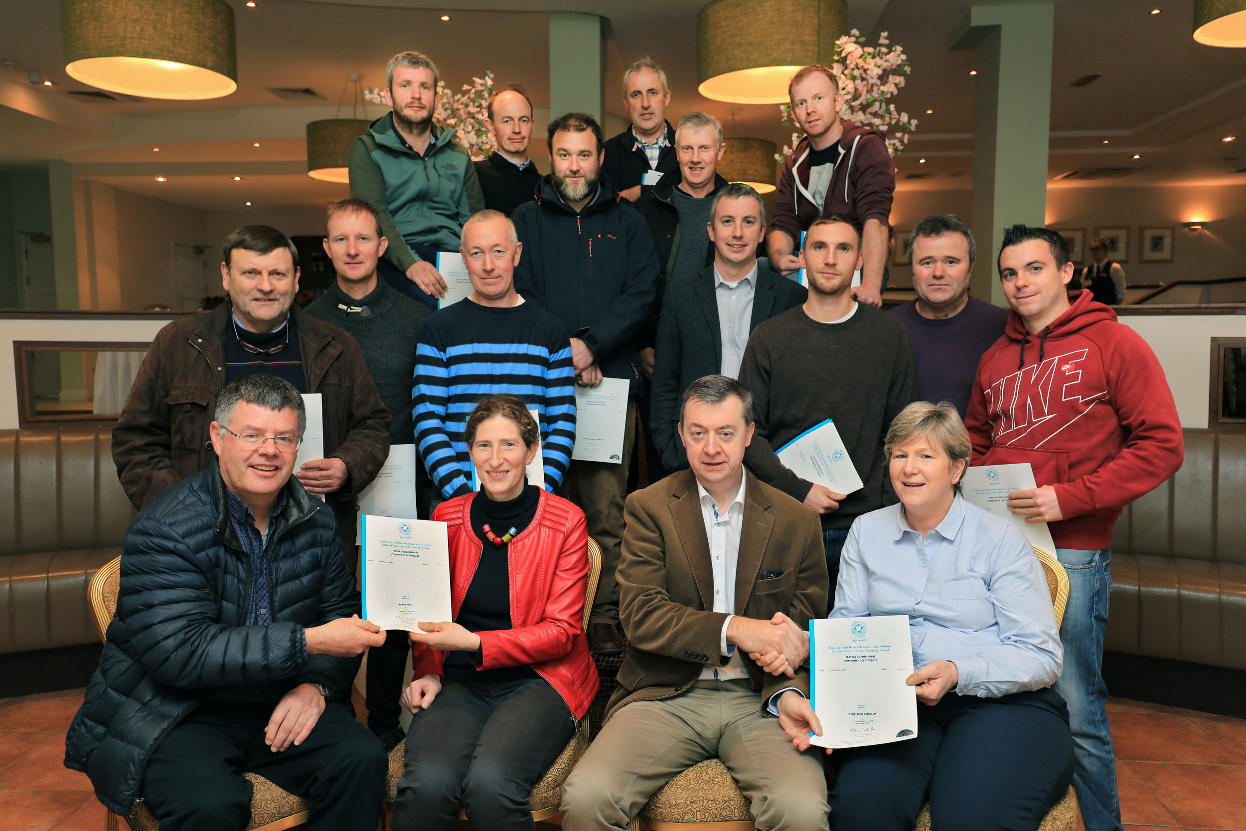 Pat Murphy, General Manager, pictured with Kerry Agribusiness Milk Suppliers receiving their QQI Certificates on completion of the inaugural Labour Management Course at a function held in the Charleville Park Hotel recently.