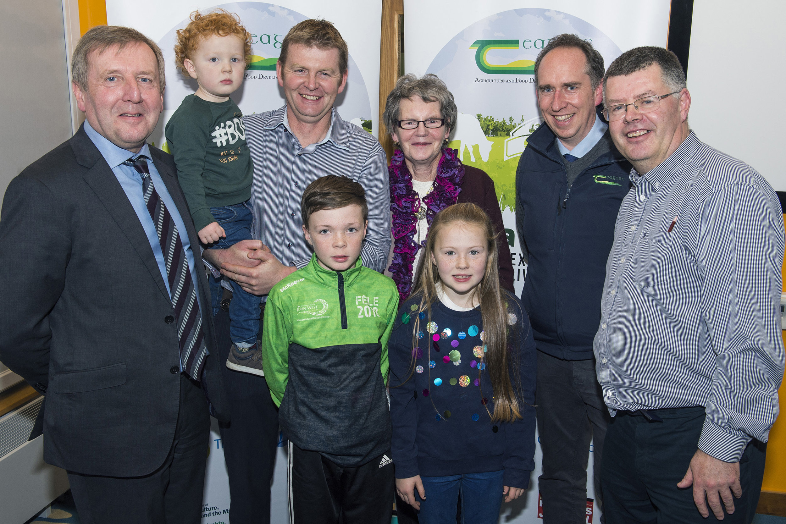 Back row: Minister Creed pictured with Conor, John and Mary MacNamara, Padraig Fitzgerald Teagasc and Ger Courtney Teagasc. Front row: Padraic and Ailbhe MacNamara