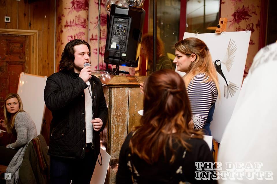 Love at first mic... Painting two great big Tits / Photo credit John Kirwin