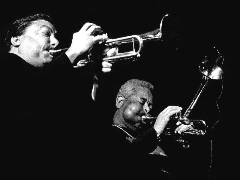 Arturo Sandoval and Dizzy Gillespie on tour in Europe in 1991.    ( SOURCE:  ARTURO SANDOVAL VIA NPR.   THE ORIGINATING ARTICLE CAN BE FOUND HERE )