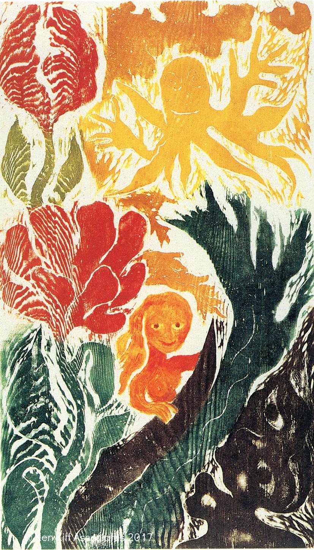 Ken Kiff - Woman, Wave and Flowers