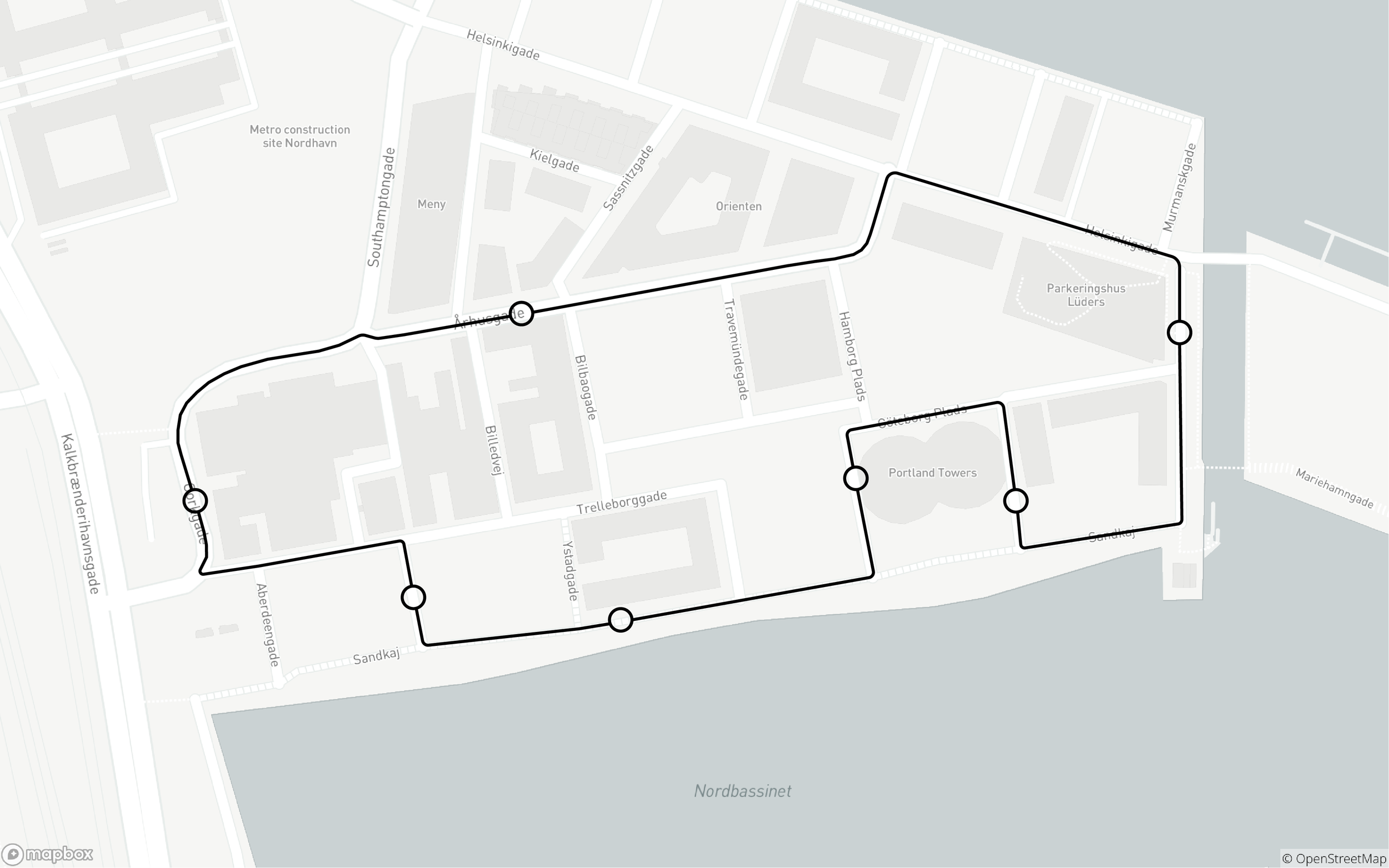 The route for the self-driving buses in Nordhavn.