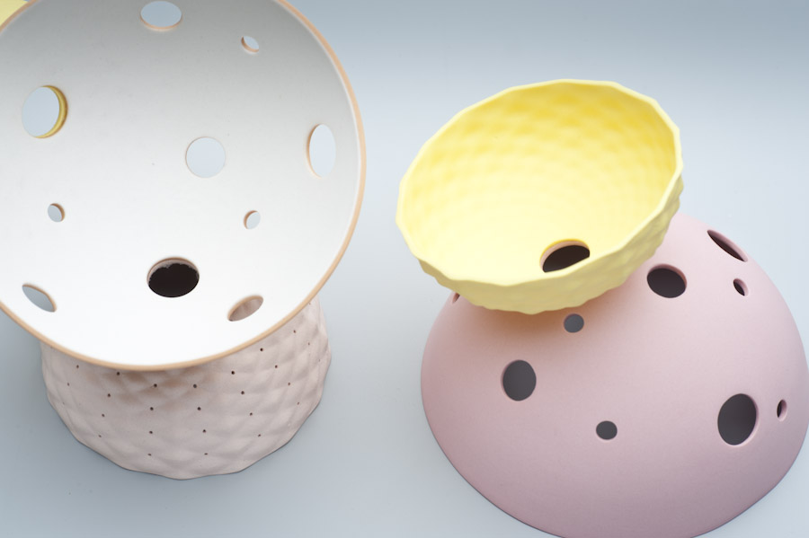 2010 Pink Series - Crop   imperial Porcelain, Stain, Glaze.