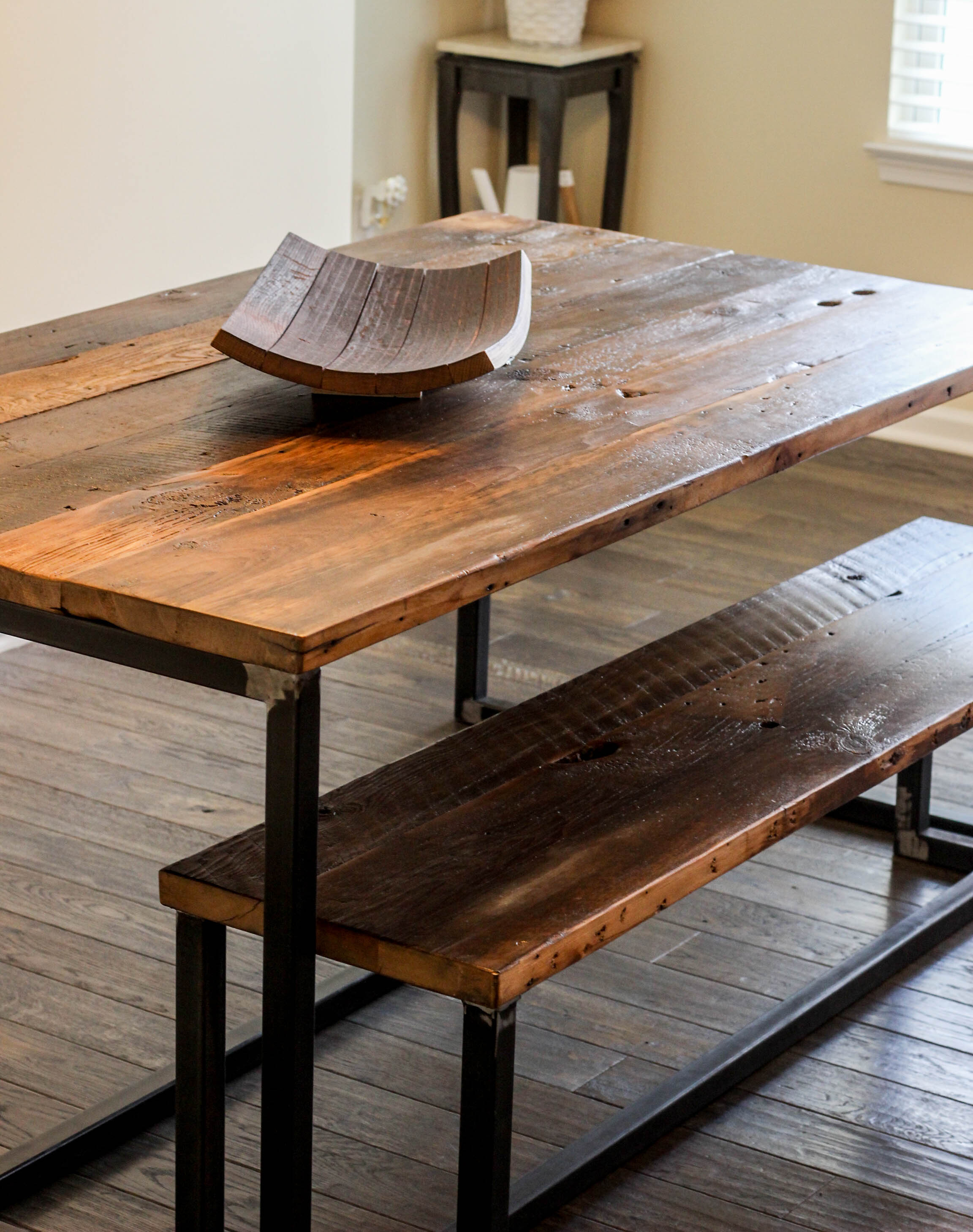 Reclaimed Wood Industrial Dining Table and Bench