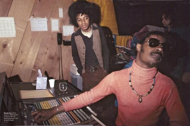 Stevie Wonder & Michael Jackson in studio (1970)
