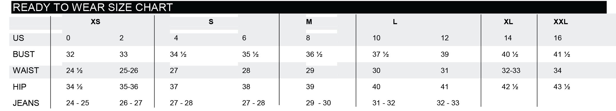 wiki wang size chart fashion designer