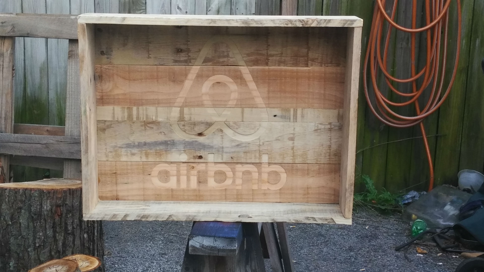 Dalton CNC Portfolio. AirBnB logo inlayed in wooden box container.