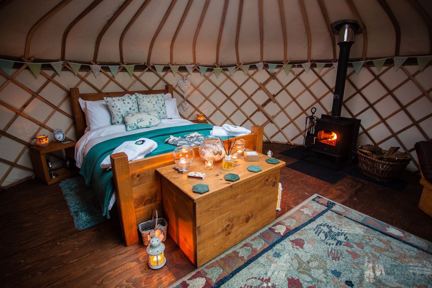The yurts offer a warm welcome each with their own log burner