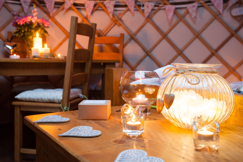 The wonderful cosy internal shots of the yurts