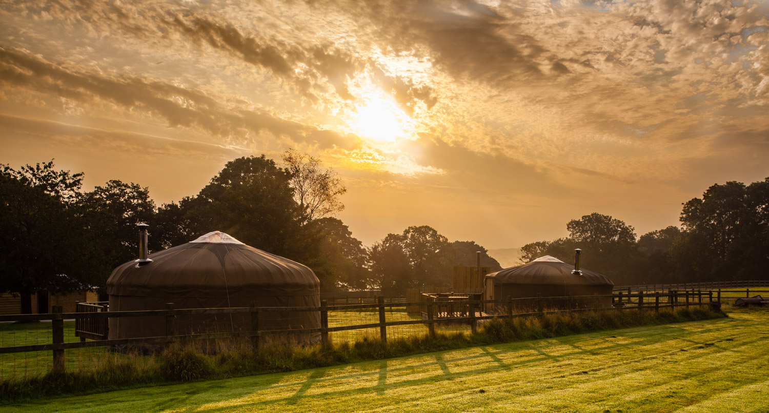 Late summer sunrise over the Derbyshire Yurts