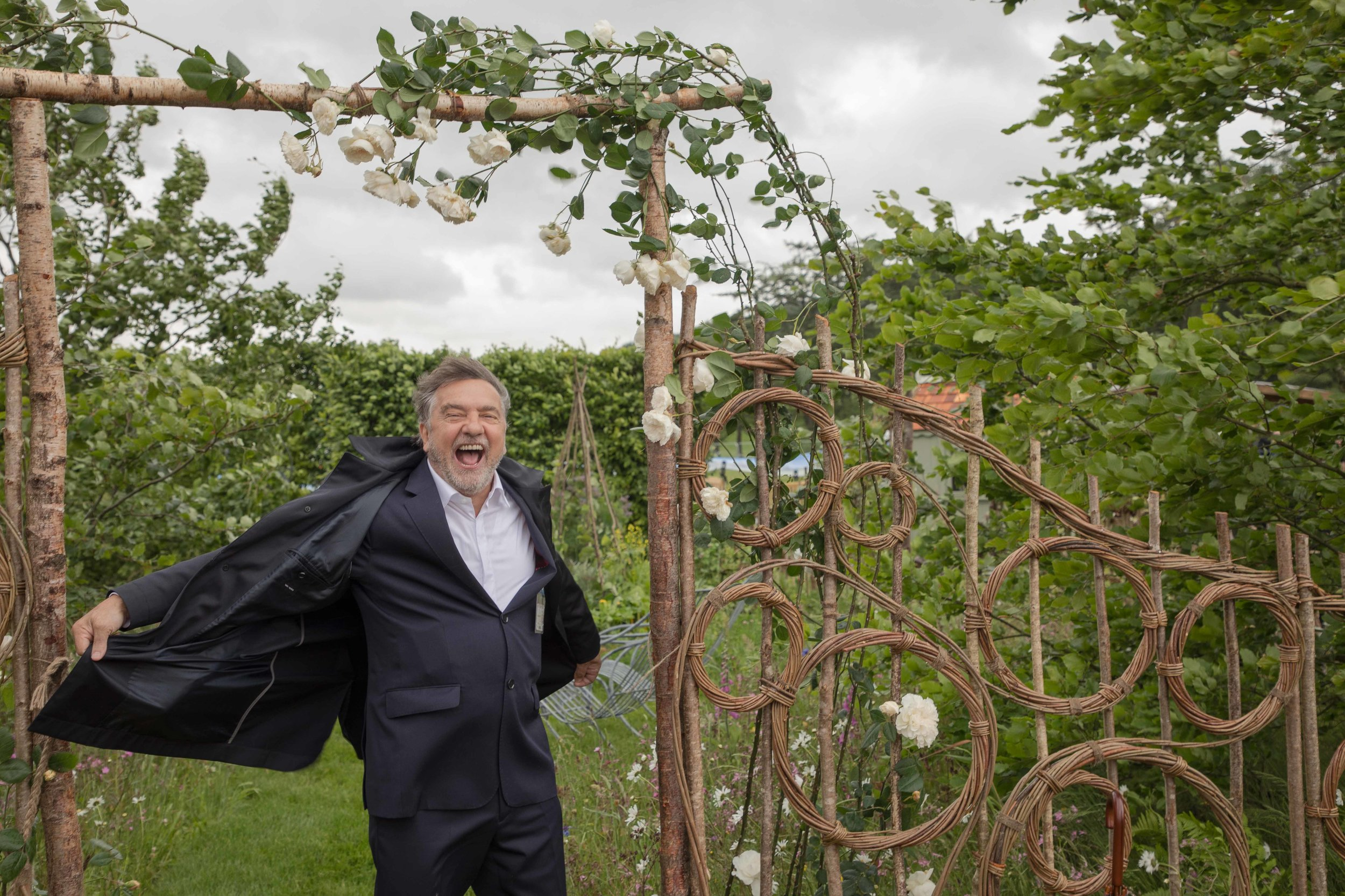 Raymond Blanc pictured here in the Belmond Enchanted Gardens by designer Butter Wakefield
