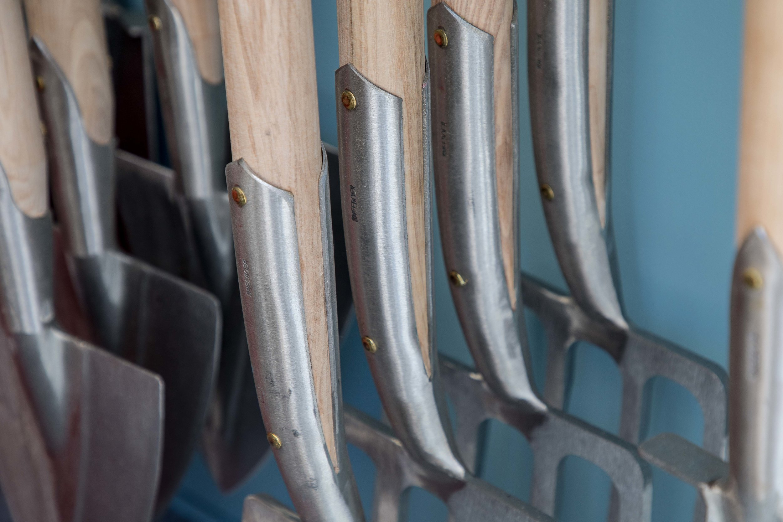 The beautifully crafted Sneeboer Stainless steel tools on display at Chelsea Flower Show