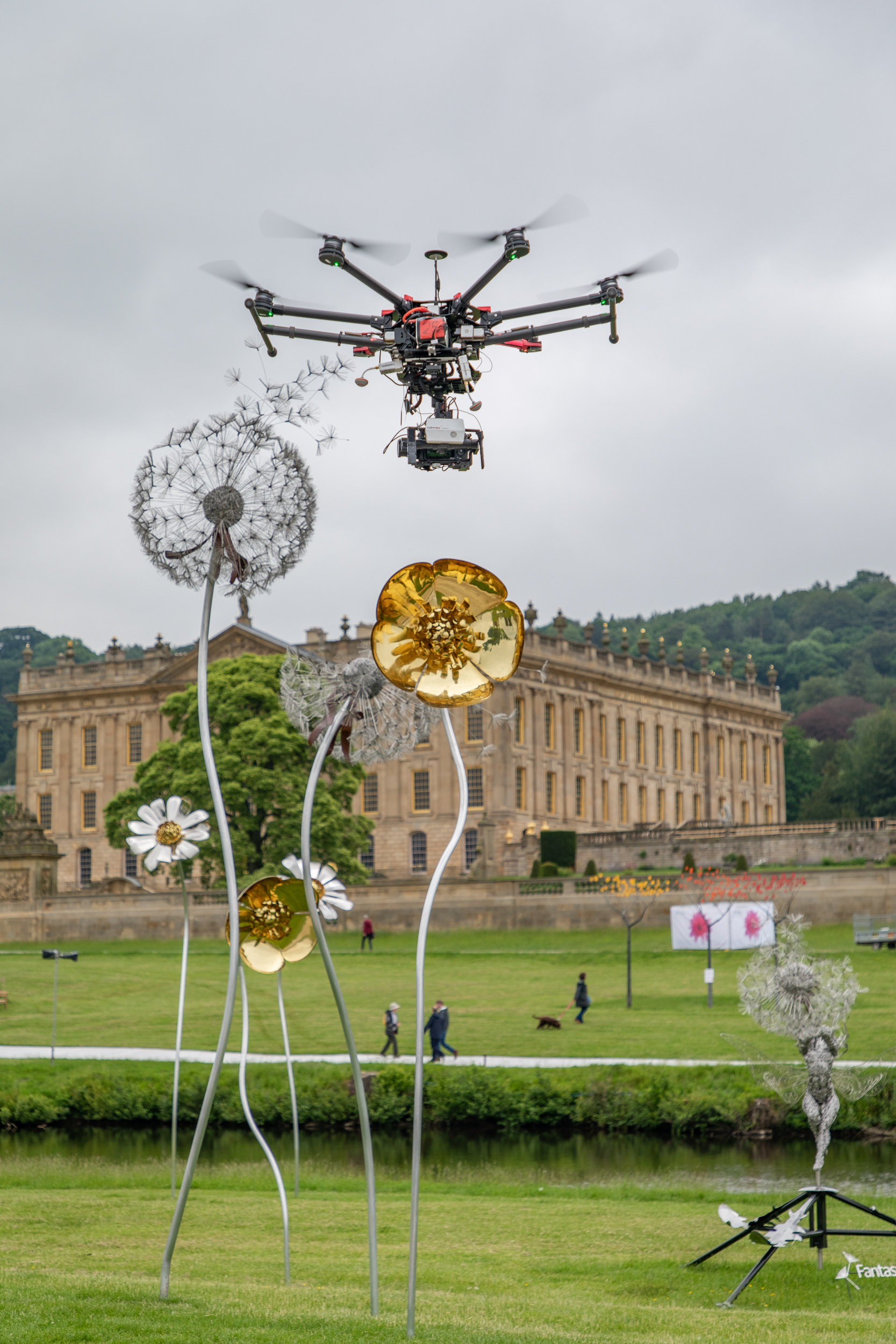 A Drone being used for filming at this years RHS Chatsworth Flower Show.