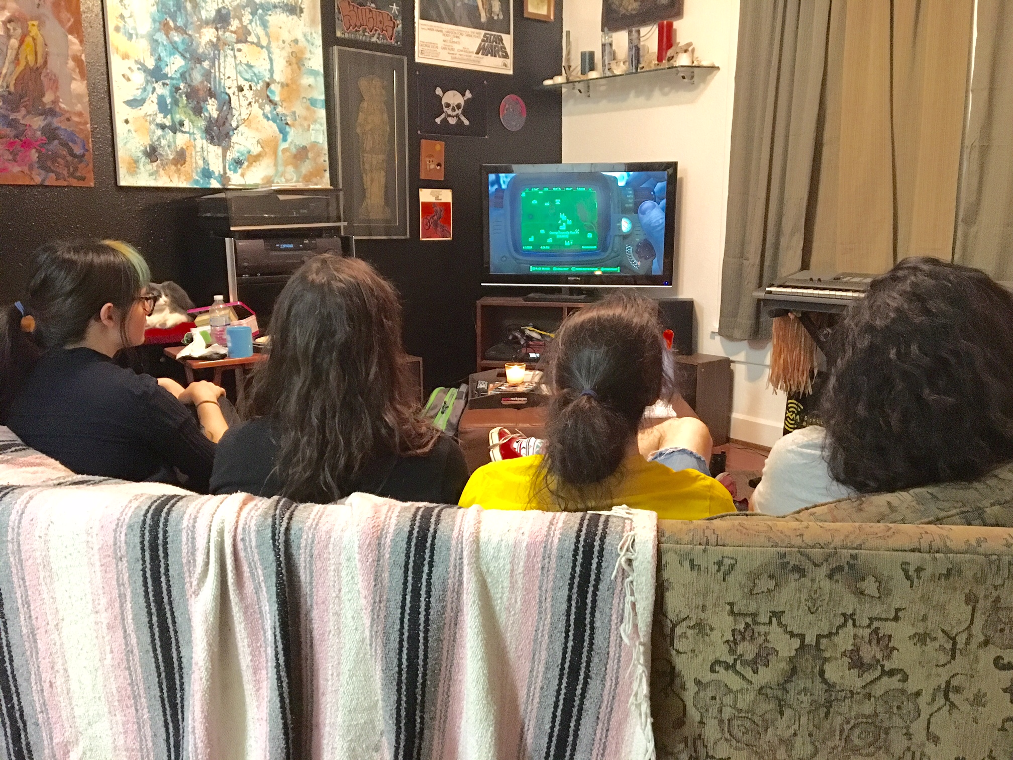 Members of Vault Dweller Playing Fallout 4 (Pictured from left to right, Emma Lylte, Todd Thompson, Shannon Paine-Jesam, and Parker Turney) - Photo by Prewitt Scott-Jackson