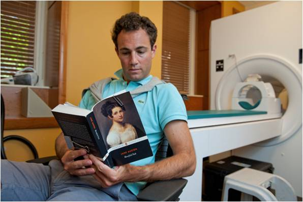 A participant in the fMRI experiment, photo courtesy of Stanford University