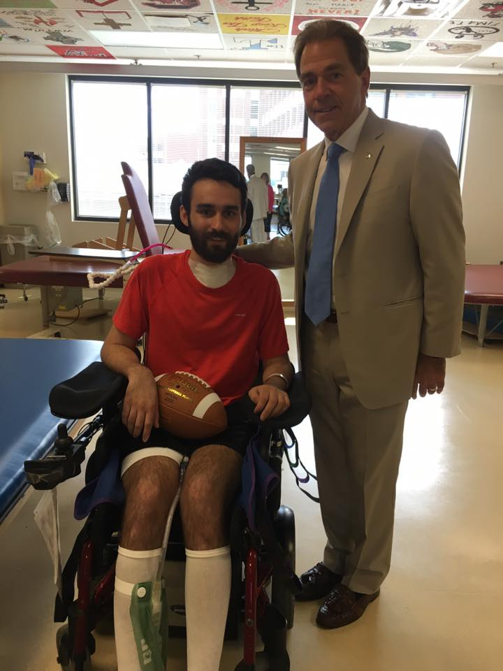 Joel at the Shepherd Center with Nick Saban.  Photo provided by Joel Elmore.